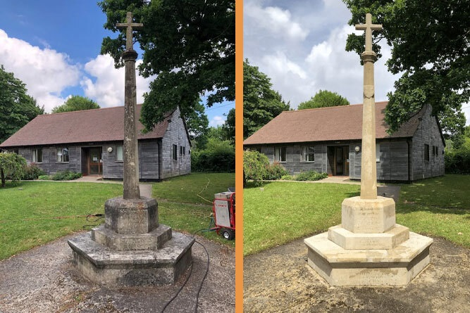 Memorial cleaning before and after